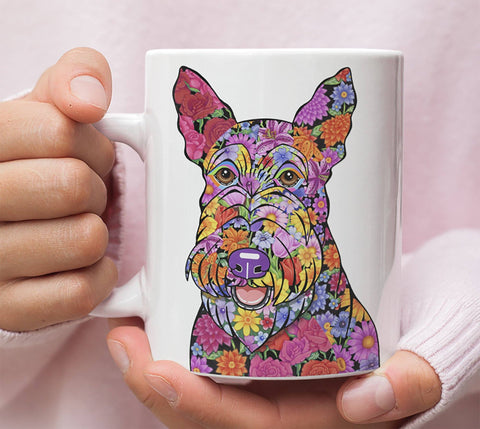 FABULOUS FLOWER SCOTTISH TERRIER WHITE MUG - DESIGN ON BOTH SIDES