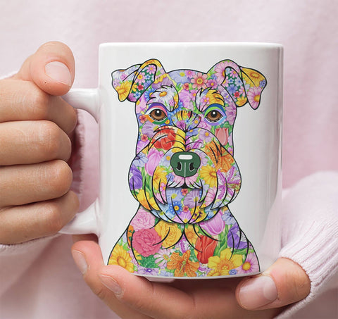 FABULOUS FLOWER SCHNAUZER WHITE MUG - DESIGN ON BOTH SIDES