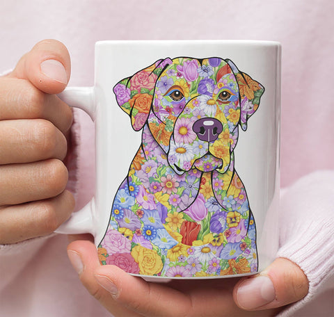 FABULOUS FLOWER YELLOW LAB WHITE MUG - DESIGN ON BOTH SIDES
