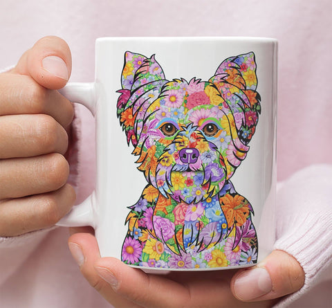 FABULOUS FLOWER YORKIE WHITE MUG - DESIGN ON BOTH SIDES