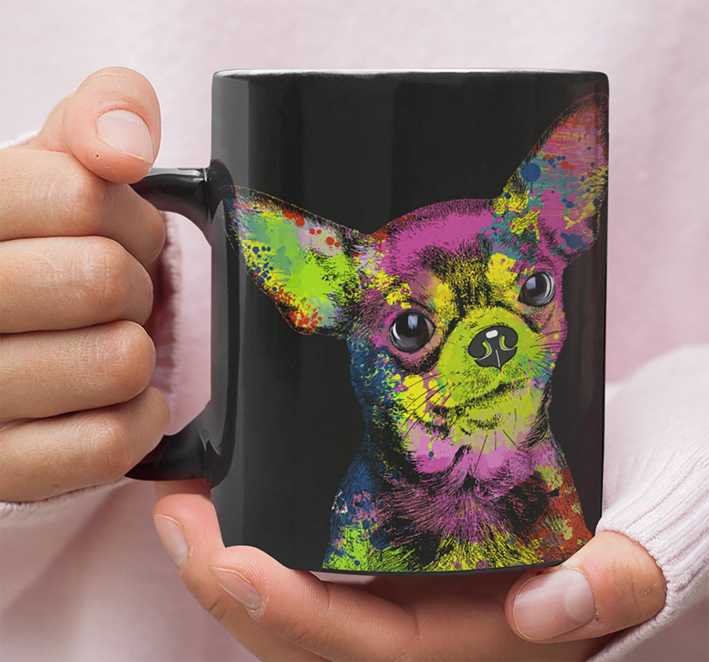 GORGEOUS POP ART CHIHUAHUA BLACK MUG - DESIGN ON BOTH SIDES