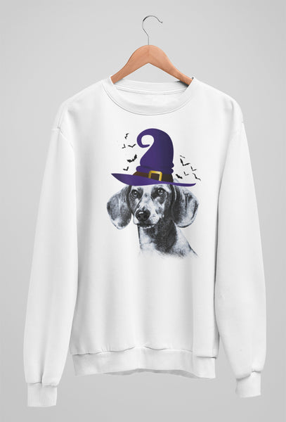 FUN HALLOWEEN DACHSHUND WITCH HAT CREWNECK SWEATSHIRTS - UP TO 4XL - 3 COLORS