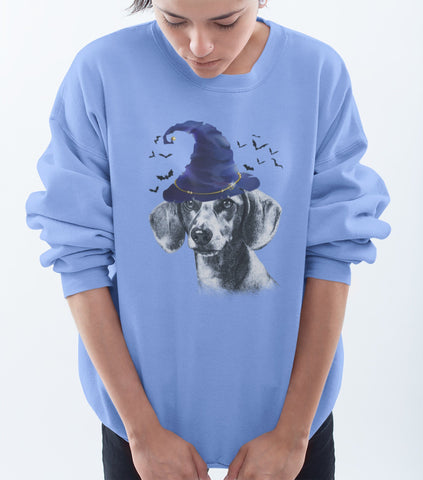 FUN HALLOWEEN DACHSHUND WIZARD HAT CREWNECK SWEATSHIRTS - UP TO 4XL - 3 COLORS