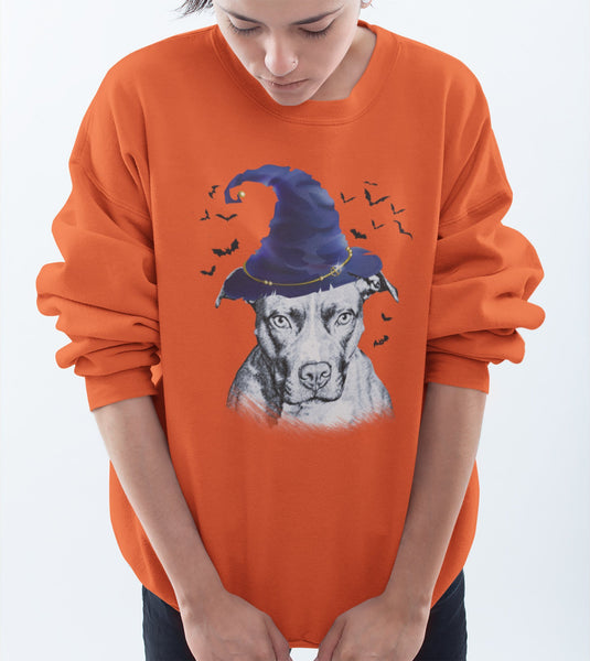 FUN HALLOWEEN PIT BULL WIZARD HAT CREWNECK SWEATSHIRTS - UP TO 4XL - 3 COLORS