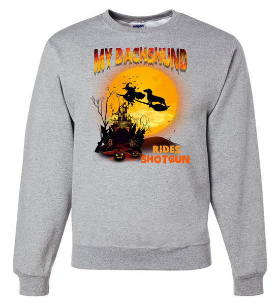 FUN HALLOWEEN DACHSHUND RIDES SHOTGUN CREWNECK SWEATSHIRTS - UP TO 4XL - 3 COLORS