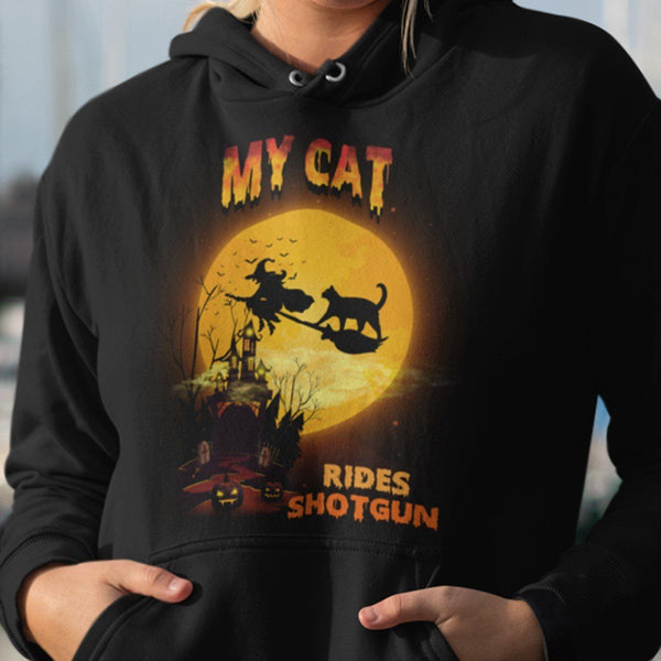 FUN HALLOWEEN CAT RIDES SHOTGUN HOODIES - UP TO 4XL - 3 COLORS