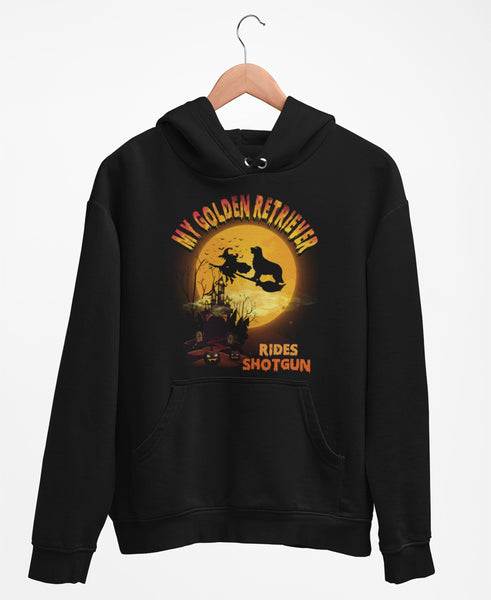 FUN HALLOWEEN GOLDEN RETRIEVER RIDES SHOTGUN HOODIES - UP TO 4XL - 3 COLORS