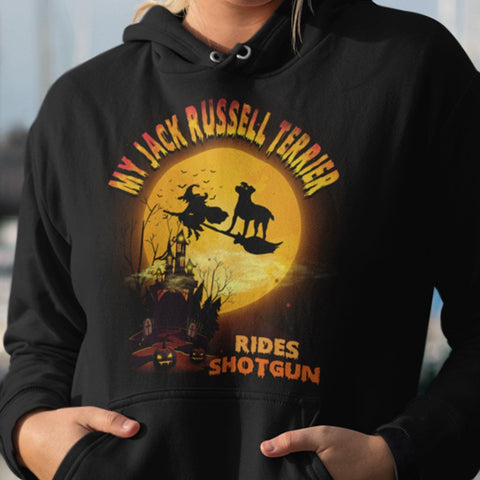 FUN HALLOWEEN JACK RUSSELL RIDES SHOTGUN HOODIES - UP TO 4XL - 3 COLORS