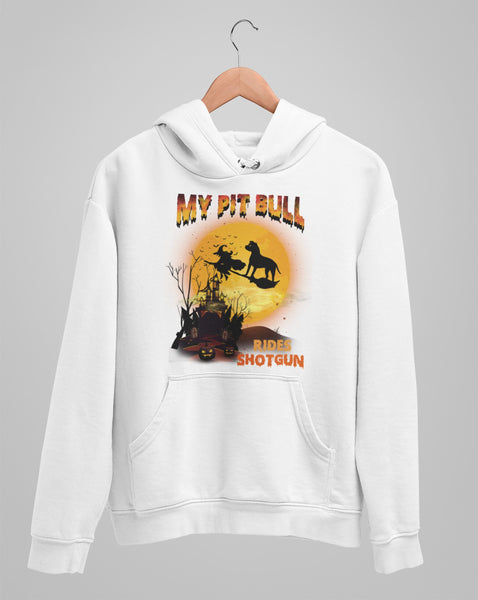 FUN HALLOWEEN PIT BULL RIDES SHOTGUN HOODIES - UP TO 4XL - 3 COLORS
