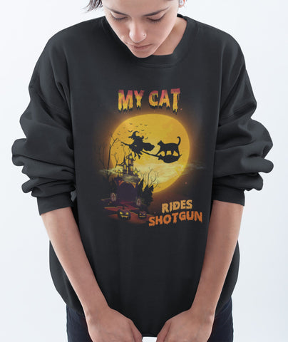 FUN HALLOWEEN CAT RIDES SHOTGUN CREWNECK SWEATSHIRTS - UP TO 4XL - 3 COLORS