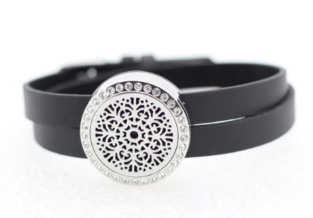 LEATHER & CRYSTAL ESSENTIAL OIL DIFFUSER BRACELET