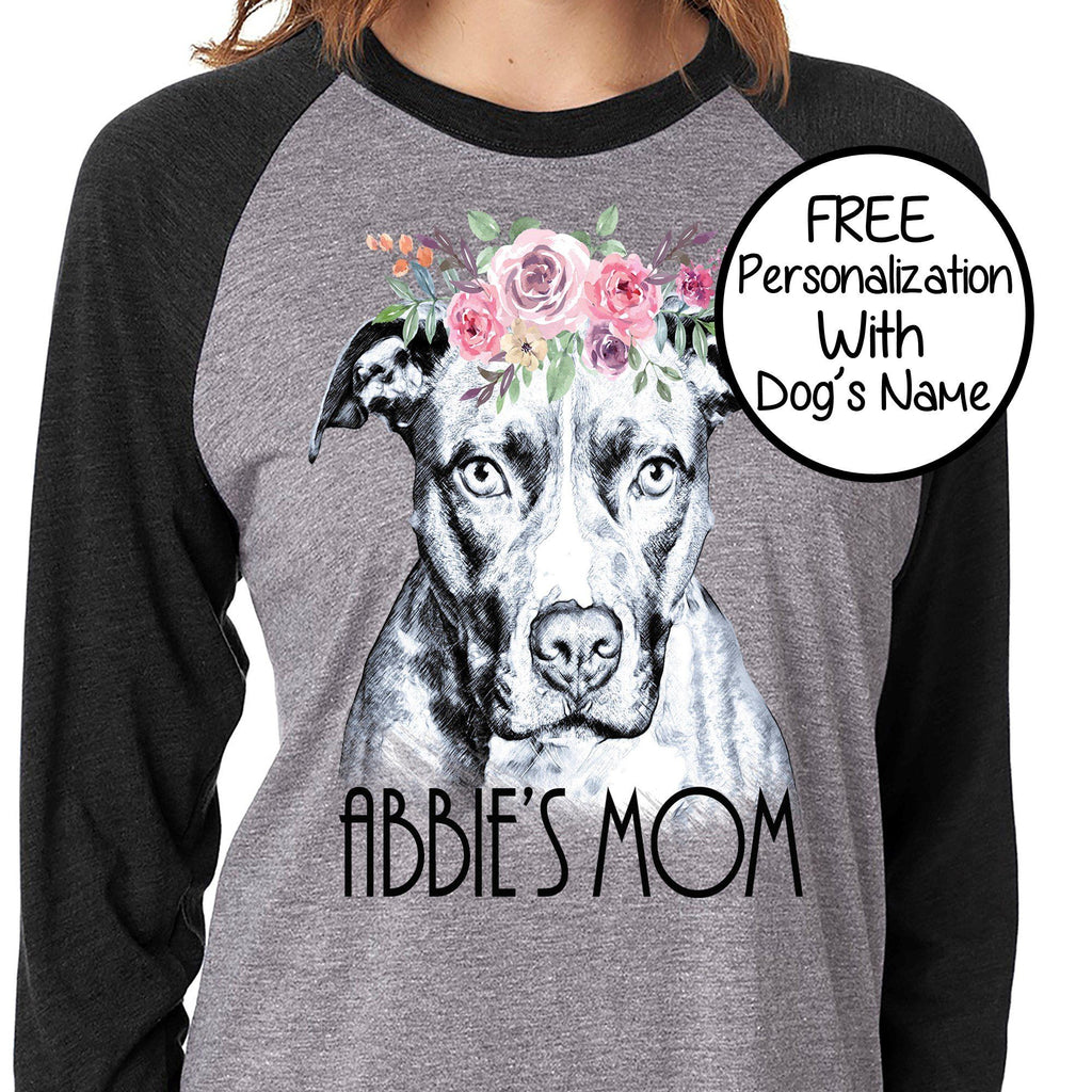BEAUTIFUL BOHO PIT BULL GRAY RAGLAN TEE - UP TO 3XL - 2 COLORS - PERSONALIZATION INSTRUCTIONS BELOW