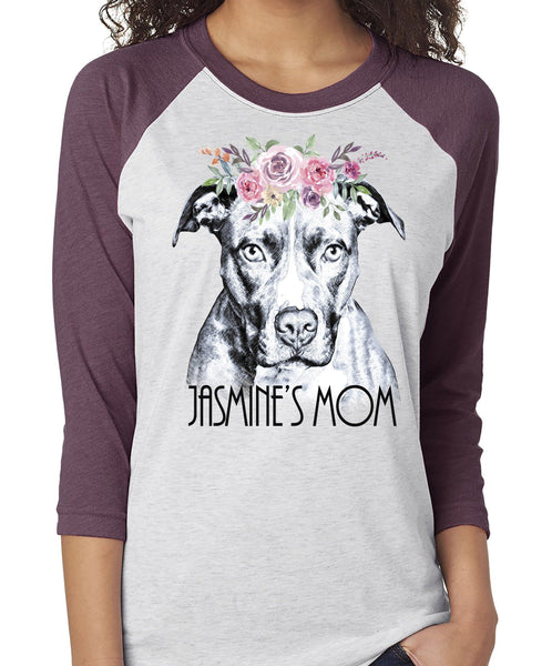 BEAUTIFUL BOHO PIT BULL RAGLAN TEE - UP TO 3XL - 3 COLORS - PERSONALIZATION INSTRUCTIONS BELOW