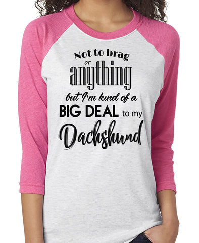 NOT TO BRAG DACHSHUND RAGLAN TEE - UP TO 3XL - 3 COLORS