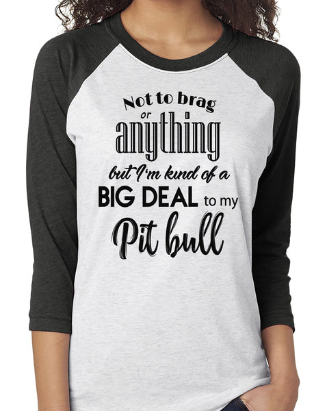 NOT TO BRAG PIT BULL RAGLAN TEE - UP TO 3XL - 3 COLORS