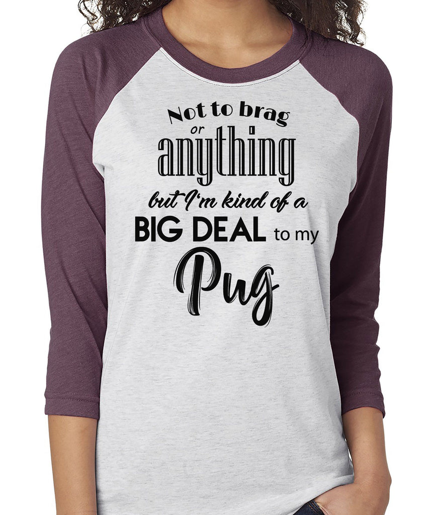 NOT TO BRAG PUG RAGLAN TEE - UP TO 3XL - 3 COLORS