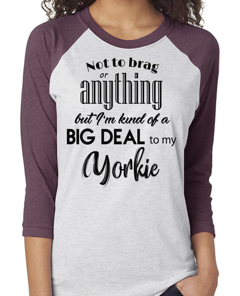 NOT TO BRAG YORKIE RAGLAN TEE - UP TO 3XL - 3 COLORS