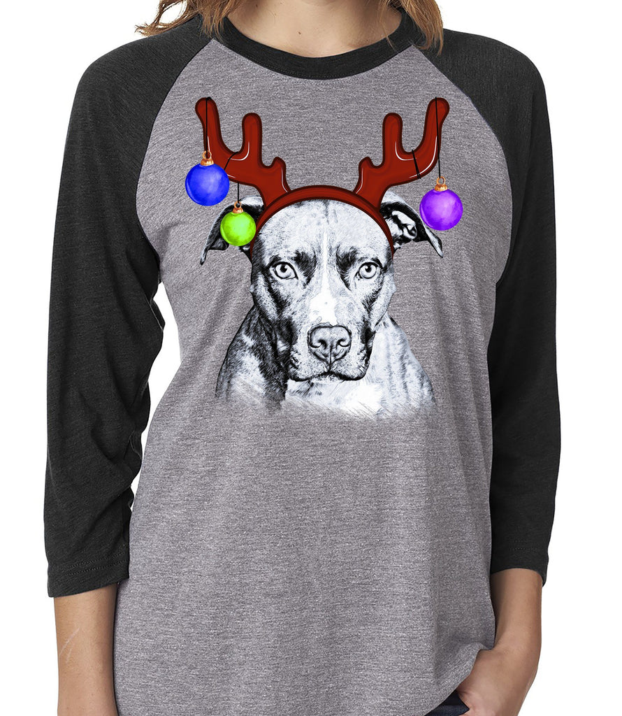 FUN REINDEER PIT BULL GRAY RAGLAN TEE - UP TO 3XL - 3 COLORS