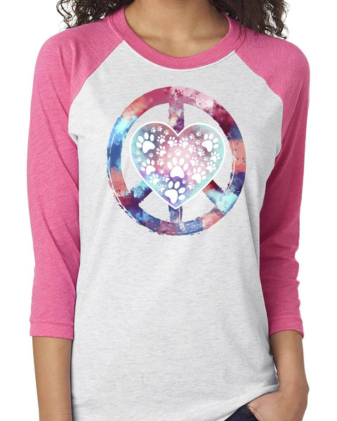 PEACE LOVE PAWS RAGLAN TEE - UP TO 3XL - 3 COLORS