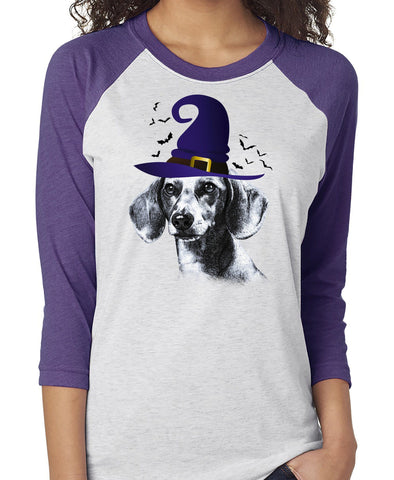 FUN HALLOWEEN DACHSHUND IN WITCH HAT RAGLAN TEE - UP TO 3XL - 2 COLORS