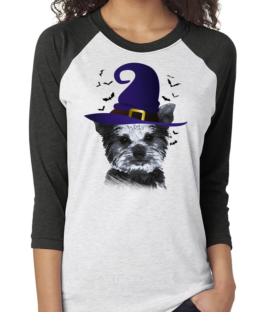 FUN HALLOWEEN YORKIE IN WITCH HAT RAGLAN TEE - UP TO 3XL - 2 COLORS