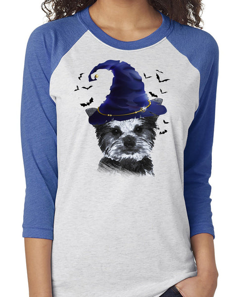 FUN HALLOWEEN YORKIE IN WIZARD HAT RAGLAN TEE - UP TO 3XL - 2 COLORS