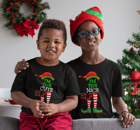 FAMILY CHRISTMAS ELF TEES - YOUTH & TODDLER - 12 personalities to choose from