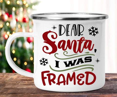 FUNNY CHRISTMAS I WAS FRAMED CAMP MUG - BIG 16.9 oz. size