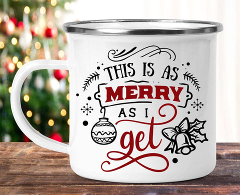 FUNNY CHRISTMAS AS MERRY AS I GET CAMP MUG - BIG 16.9 oz. size