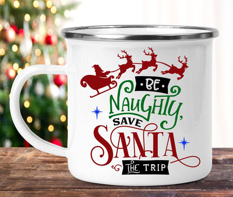 FUNNY CHRISTMAS BE NAUGHTY CAMP MUG - BIG 16.9 oz. size