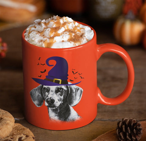 HALLOWEEN DACHSHUND WITCH HAT ORANGE MUG