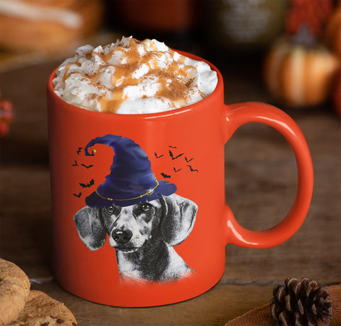 HALLOWEEN DACHSHUND WIZARD HAT ORANGE MUG