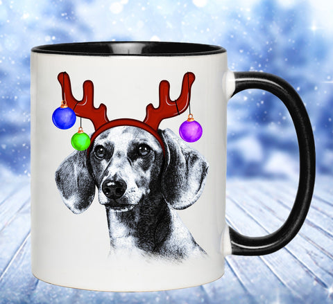 FUN REINDEER DACHSHUND TWO-TONED MUG - 2 COLORS TO CHOOSE FROM