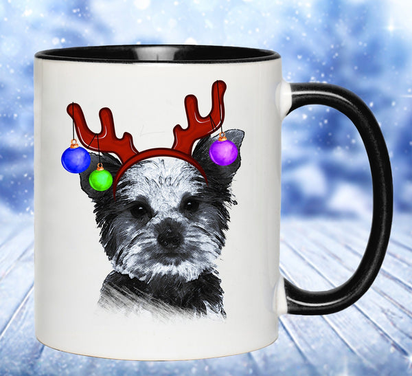 FUN REINDEER YORKIE TWO-TONED MUG - 2 COLORS TO CHOOSE FROM