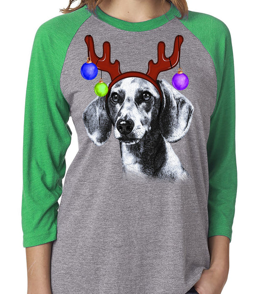 FUN REINDEER DACHSHUND GRAY RAGLAN TEE - UP TO 3XL - 3 COLORS