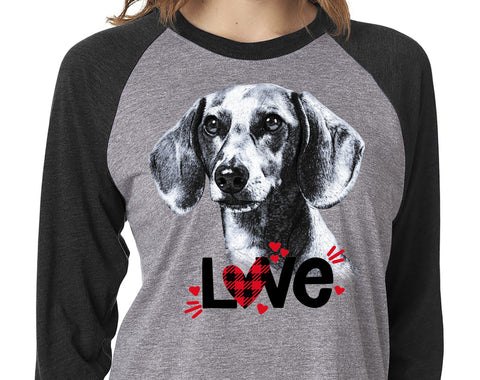 DACHSHUND LOVE GRAY RAGLAN TEE - UP TO 3XL - GREAT FOR VALENTINE'S DAY