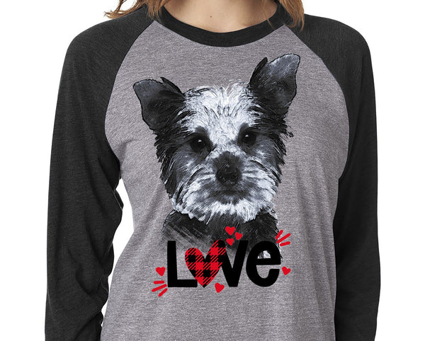 YORKIE LOVE GRAY RAGLAN TEE - UP TO 3XL - GREAT FOR VALENTINE'S DAY