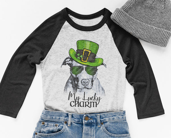 COOL LUCKY CHARM PIT BULL RAGLAN TEE - UP TO 3XL