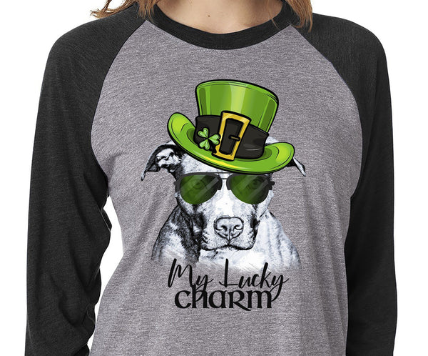 COOL LUCKY CHARM PIT BULL GRAY RAGLAN TEE - UP TO 3XL