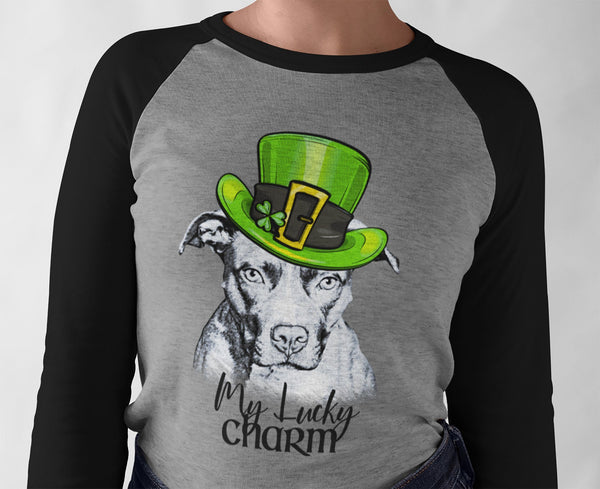 MY LUCKY CHARM PIT BULL GRAY RAGLAN TEE - UP TO 3XL