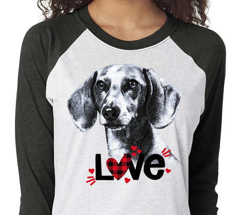 DACHSHUND LOVE RAGLAN TEE - UP TO 3XL - GREAT FOR VALENTINE'S DAY