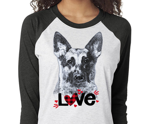 GERMAN SHEPHERD LOVE RAGLAN TEE - UP TO 3XL - GREAT FOR VALENTINE'S DAY