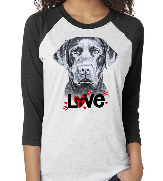 LABRADOR LOVE RAGLAN TEE - UP TO 3XL - GREAT FOR VALENTINE'S DAY