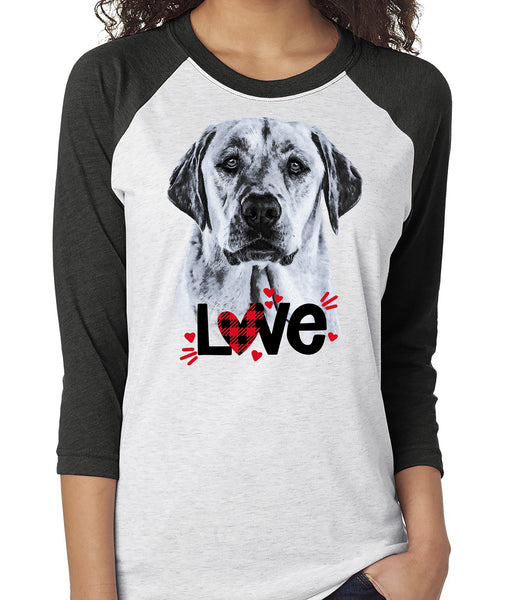 YELLOW LABRADOR LOVE RAGLAN TEE - UP TO 3XL - GREAT FOR VALENTINE'S DAY