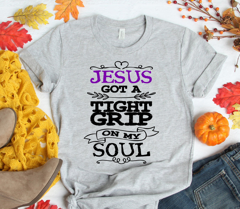 JESUS GOT A TIGHT GRIP ON MY SOUL UNISEX TEES - UP TO 4XL - BEAUTIFUL HEATHER COLORS