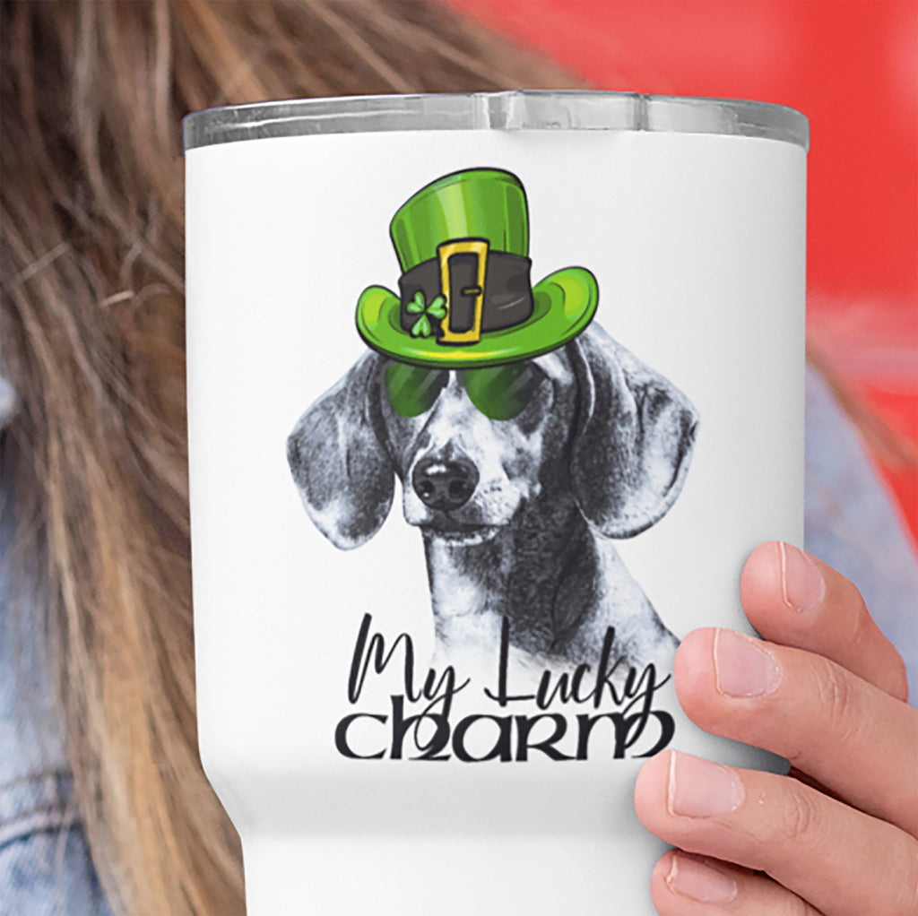 COOL LUCKY CHARM DACHSHUND WHITE STAINLESS STEEL TUMBLER - BIG 30 oz. size