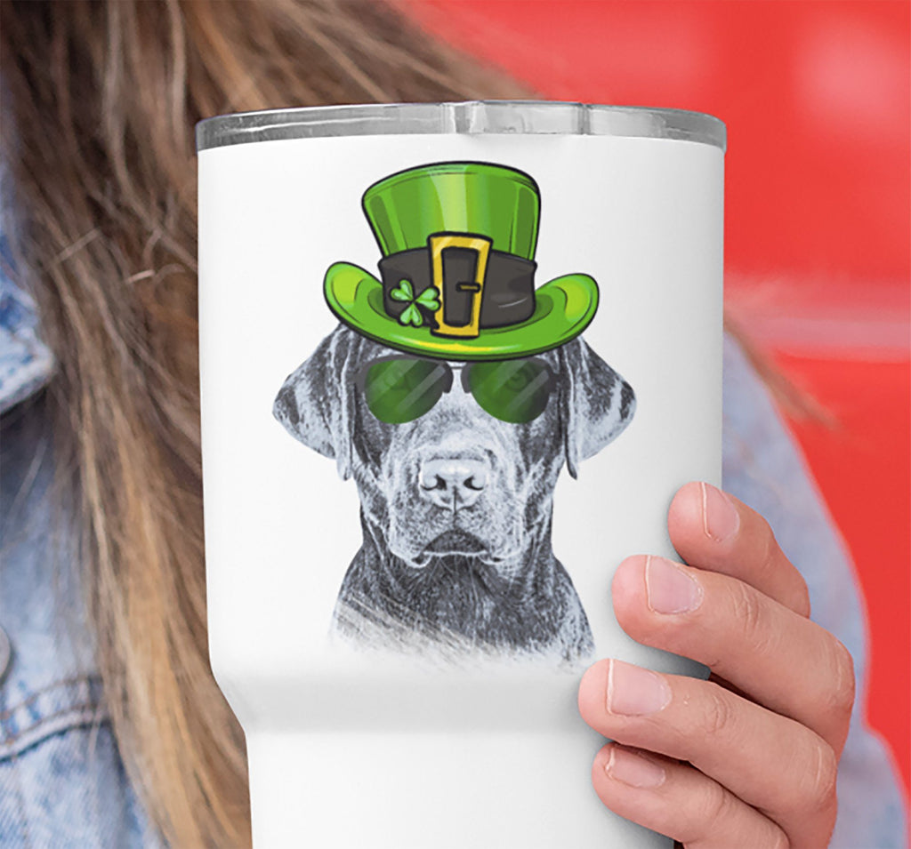 COOL ST PADDY'S DAY LABRADOR WHITE STAINLESS STEEL TUMBLER - BIG 30 oz. size
