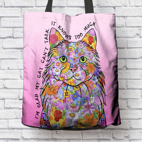 FUN MY CAT KNOWS CANVAS TOTE