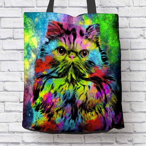 GORGEOUS POP ART PERSIAN CAT CANVAS TOTE