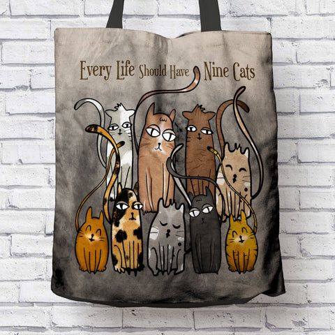 FUN 9 CATS CANVAS TOTE